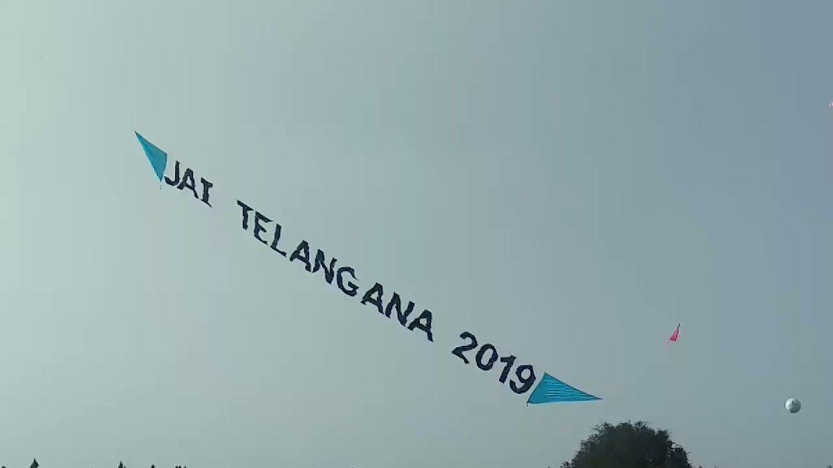 Jai Telangana 2019 Kite  @ #InternationalKiteFestival, Parade Grounds, Secunderabad.    #HappeningHyderabad #Hyderabad #Telangana #IncredibleIndia @KTRTRS @RaoKavitha @trspartyonline @tstourism @incredibleindia
