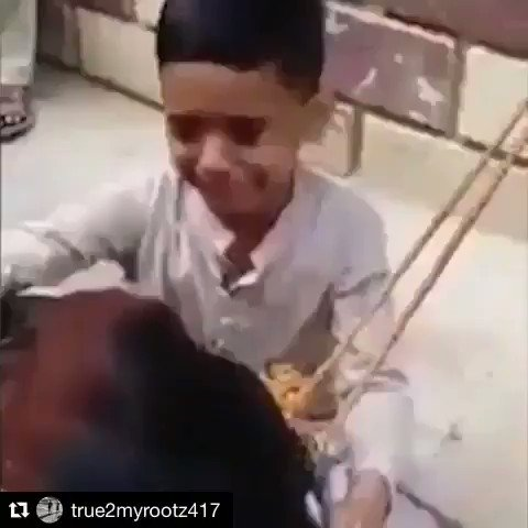 #child cries/tries to comfort cow before her throat is cut (#Eid religious killing). 100million animals are sacrificed yearly for barbaric tradition which should be relegated to primitive era. This child knows right from wrong. MT TY @Robert0Guiscard