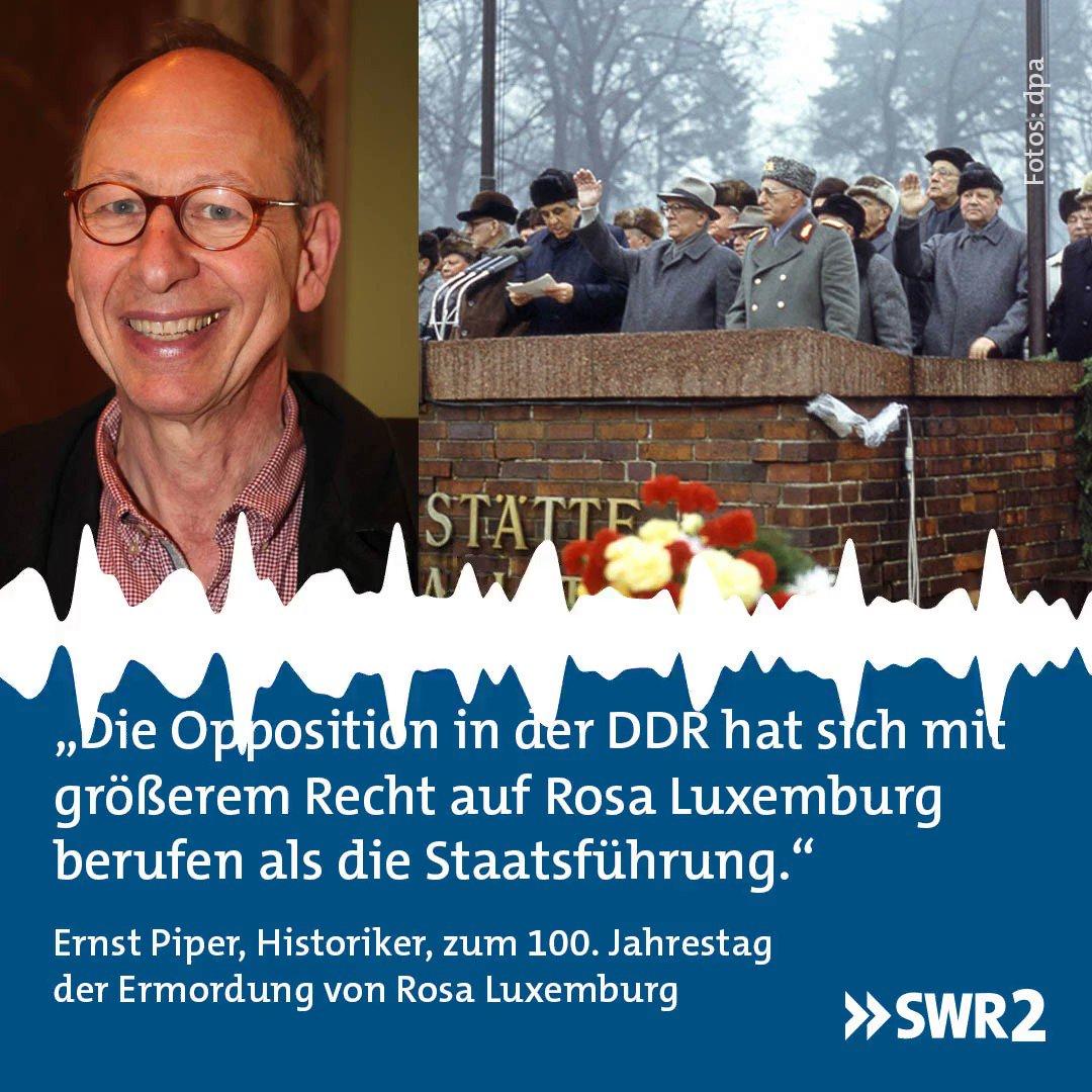 In der #DDR wurde sie als Märtyrerin verehrt. Doch man habe dabei Werk und Person getrennt, so der Historiker Ernst Piper in #SWR2. Mit #RosaLuxemburg, der anti-autoritären Reformerin, habe die Staatsführung wenig anfangen können. http://x.swr2.de/s/rosaluxemburg