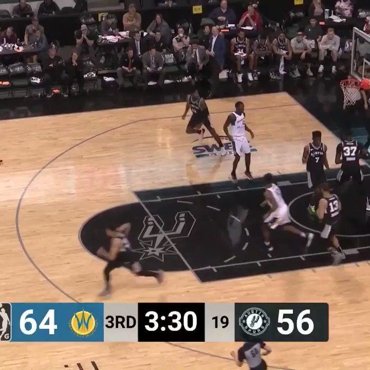 That @Spurs ball movement... 👌  ... It extends to the @Austin_Spurs too. @AggieMBK product Jordan Green puts an EXCLAMATION POINT on this #GLeagueTopPlay!
