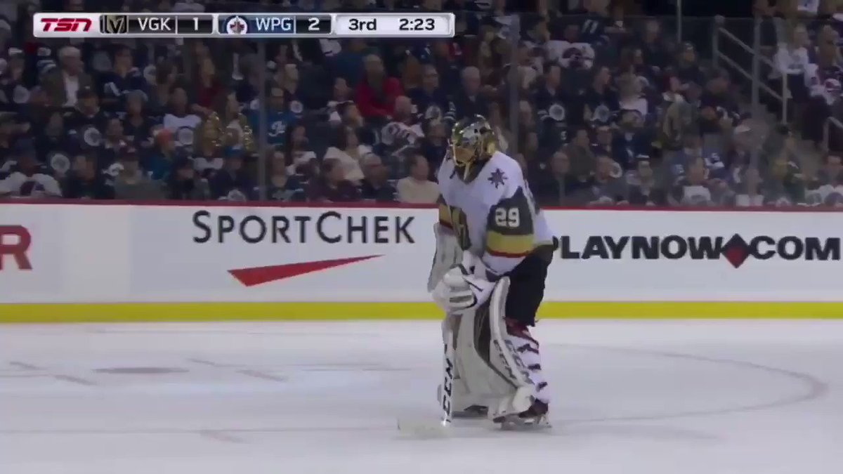 Marc Andre Fleury tried to pile up a snow wall in front of the empty net to defend it in his absence and gets caught by the referees.