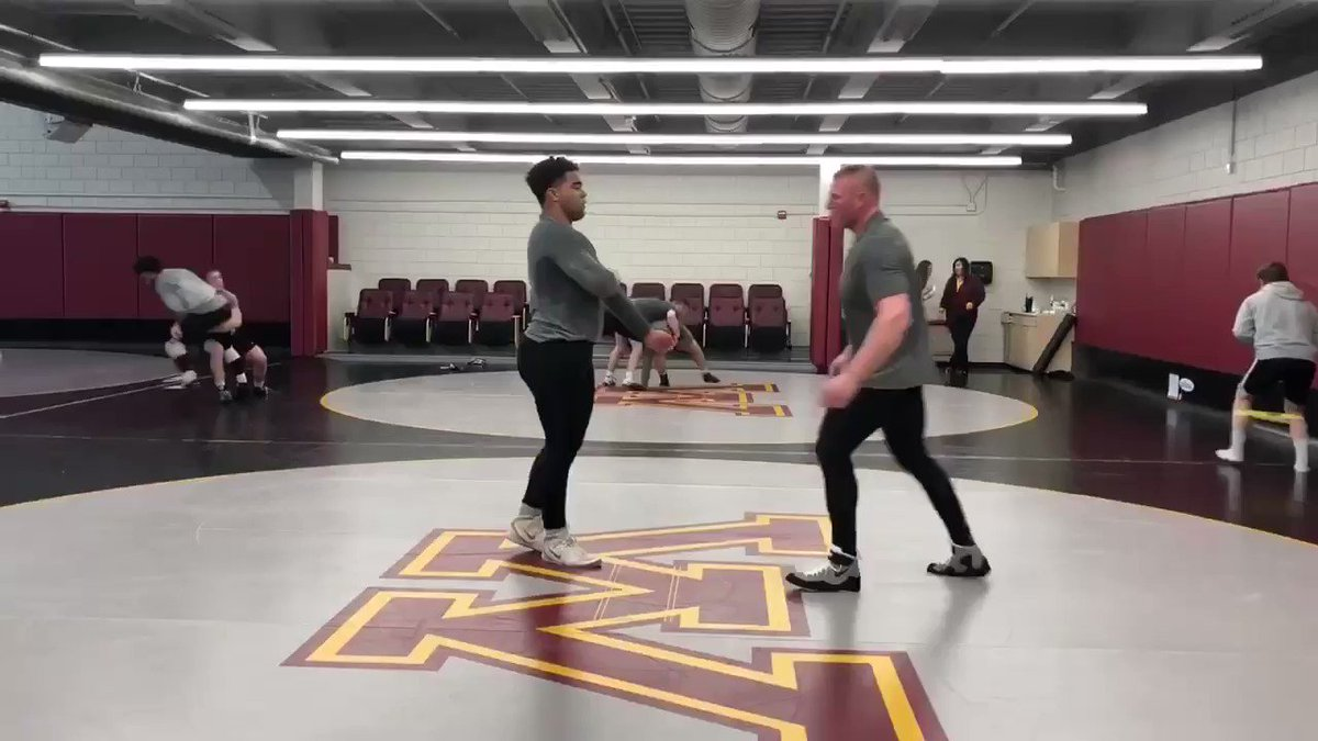 The #1 ranked heavyweight in the country, and he's 20-0. @GopherWrestling's @GSteveson works out with the reigning defending undisputed @WWE #UniversalChampion (and former #NCAA D1 Hvywt Champion) @BrockLesnar!