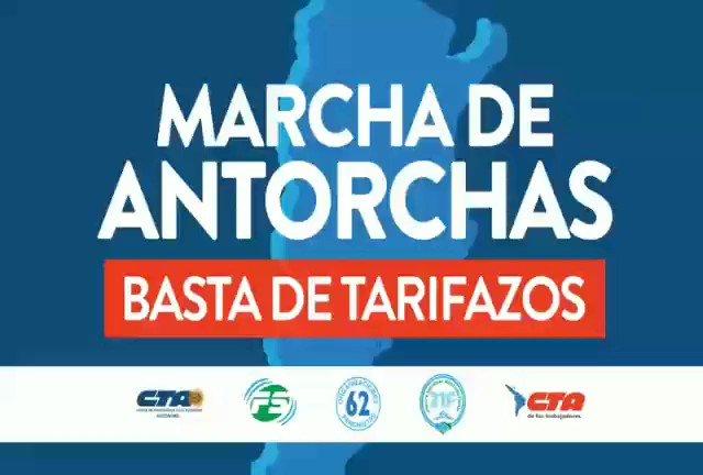 Mañana #MarchaDeAntorchas en Córdoba, Rosario, San Juan, Santa Fe y el viernes en Azul. ¡BASTA DE TARIFAZOS! https://t.co/2yAfS7c5T9