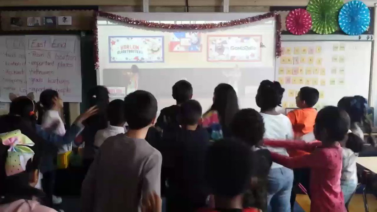 Gym canceled today. No worries we learned about the @Globies. 🏀A great new partnership with @GoNoodle. Any future Globetrotters? @Globies