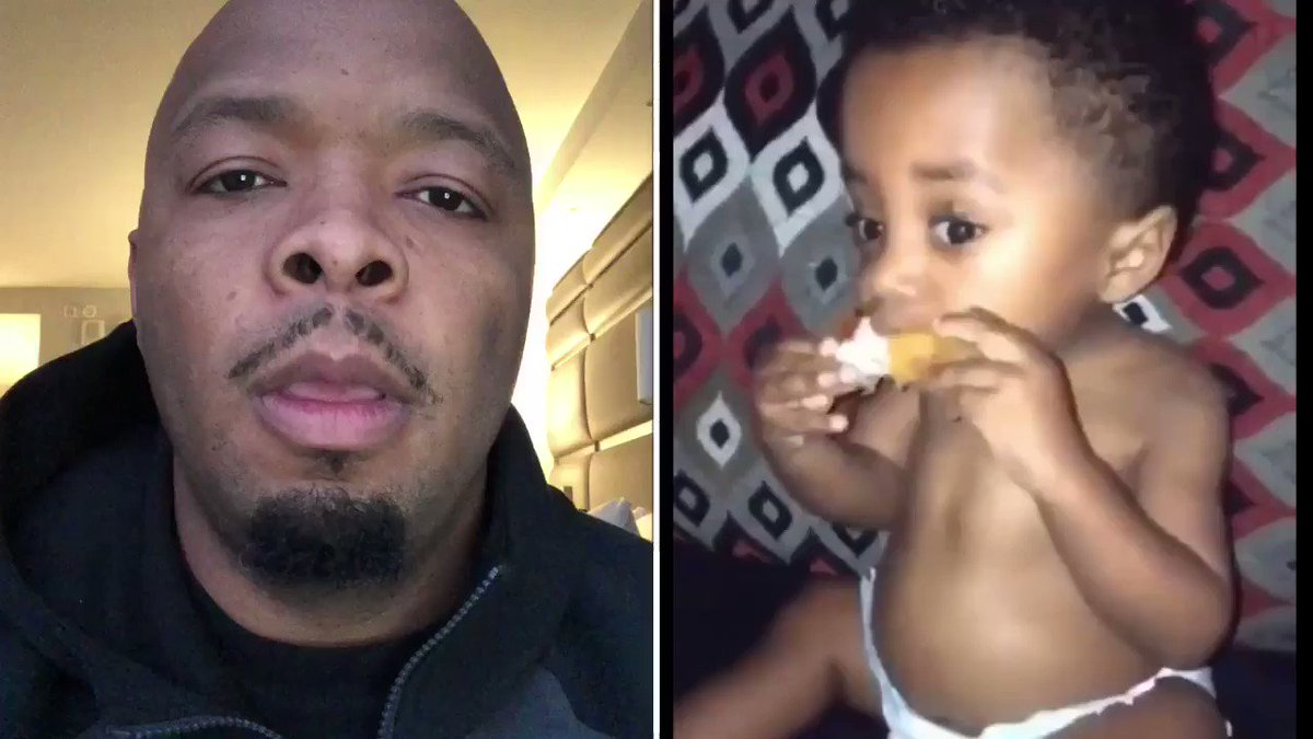 Watch the EXACT MOMENT this baby falls in love with fried chicken.
