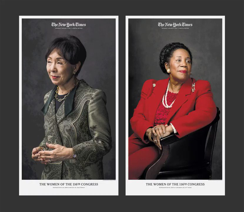 Portraits of the women of the 116th U.S. Congress are a testament to what power looks like in 2019.  On newsstands today: The New York Times includes a special section with 1 of these 27 different covers. https://nyti.ms/2FBOJT8