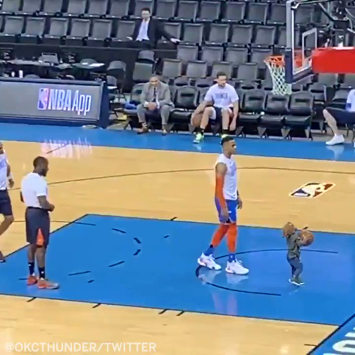 Russell Westbrook training his son Noah for the 2036 NBA draft 🏀 (via @okcthunder)