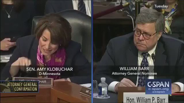"FLASHBACK:  Klobuchar: ""A president persuading a person to commit perjury would be obstruction. Is that right?"" Barr: ""Yes.""  Klobuchar: ""You also said that a president — or any person — convincing a witness to change testimony would be obstruction. Is that right?"" Barr: ""Yes."""