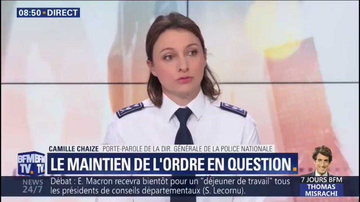 """[#Acte10] """"La police fait usage de la force de manière légitime et proportionnée en cas de nécessité absolue."""" Camille Chaize, Porte-parole de la Police nationale était sur @BFMTV."""