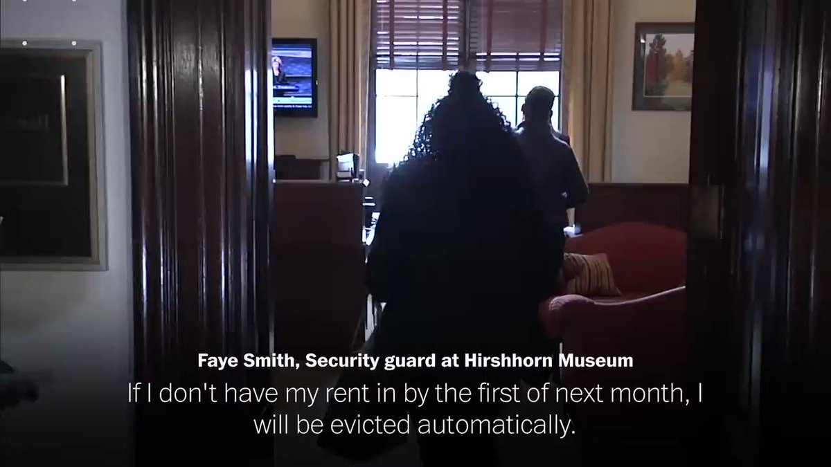 """If I don't have my rent in ... I will be evicted ... I can't even go to my family, Mr. McConnell. My family is with federal government.""  Faye Smith, a security guard at the Hirshhorn Museum and one of the fuloughed workers who descended on McConnell's office this week. Via WaPo"