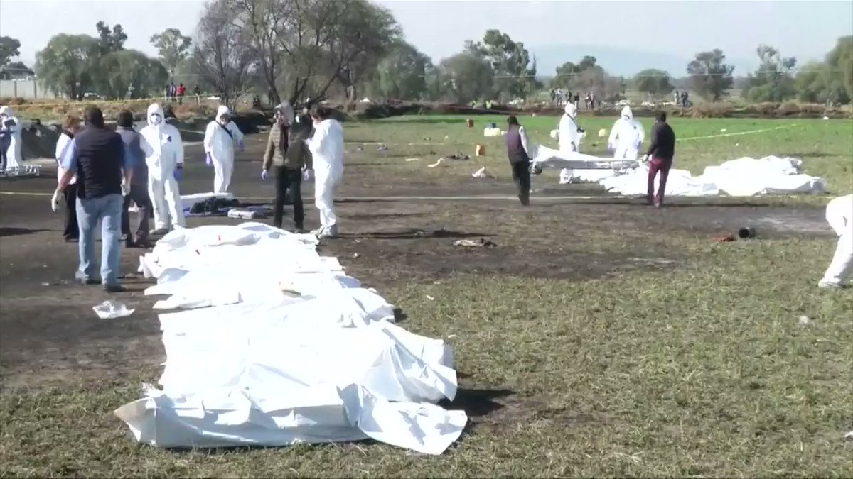 Tragic scene in Hidalgo, Mexico after a fuel pipeline blast killed nearly 66 people. @chitalomericano is at the scene for @Reuters @ReutersTV and says some bodies are so badly charred that they're 'just  a pile of ash and bones':