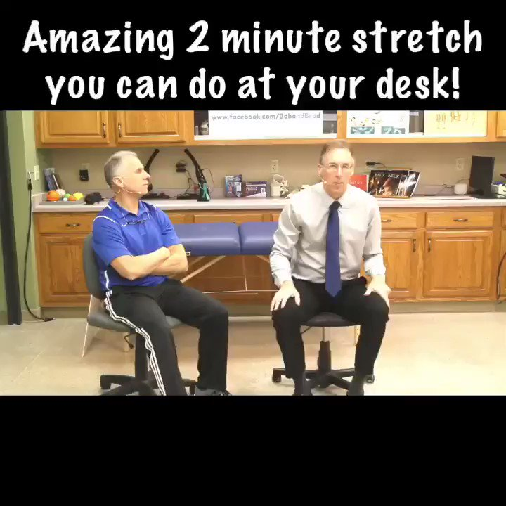 Check out today's video clip of the day to see an amazing two minute stretch you can do at your desk! As always click the link on our homepage to see the full video! #BobandBrad #FamousPT #healthy #fit #painfree #physicalTherapy #fitness