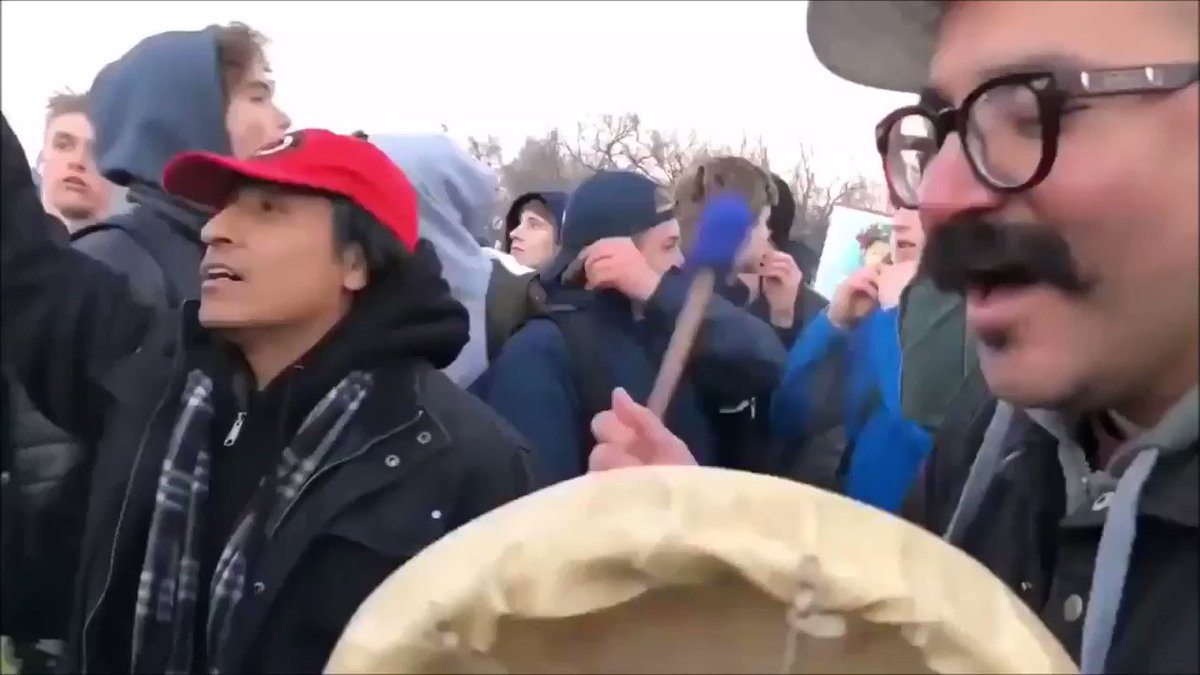 Nathan Phillips, a native American and a Vietnam veteran, taunted in Washington DC by #MAGA hat wearing students from Covington Catholic High School on January 19, 2019.