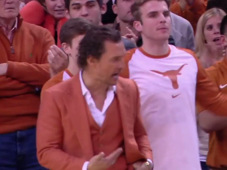 Mood: Matthew @McConaughey in a burnt orange suit making sure @TexasMBB is pumped up 👏