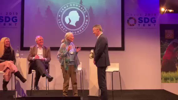 """""""That is the best 'thank you' I've ever had."""" - @DanDSpringer to Dr. Jane Goodall upon the very first contribution to the Jane Goodall Legacy Foundation. http://bit.ly/2HnORIg #DocuSignForForests #davos #wef #janegoodall @JaneGoodallInst"""
