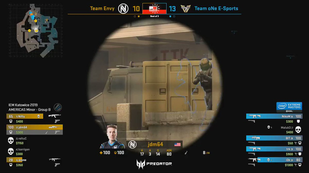 Another clutch! This time @Envy_Nifty stays keeps cool and secures the round.  https://www.twitch.tv/esl_csgob