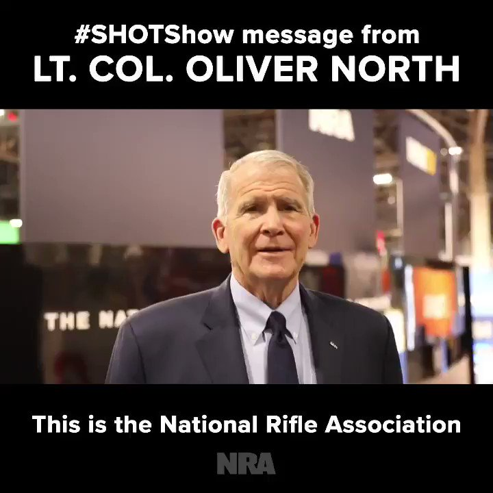 SPECIAL MESSAGE FROM @OliverLNorth! All 65,000 patriots at #SHOTShow have one thing in common – they all genuinely care about the Second Amendment. Recruit one person to join the fight! Sign up here → http://bit.ly/NRAxSHOTShow