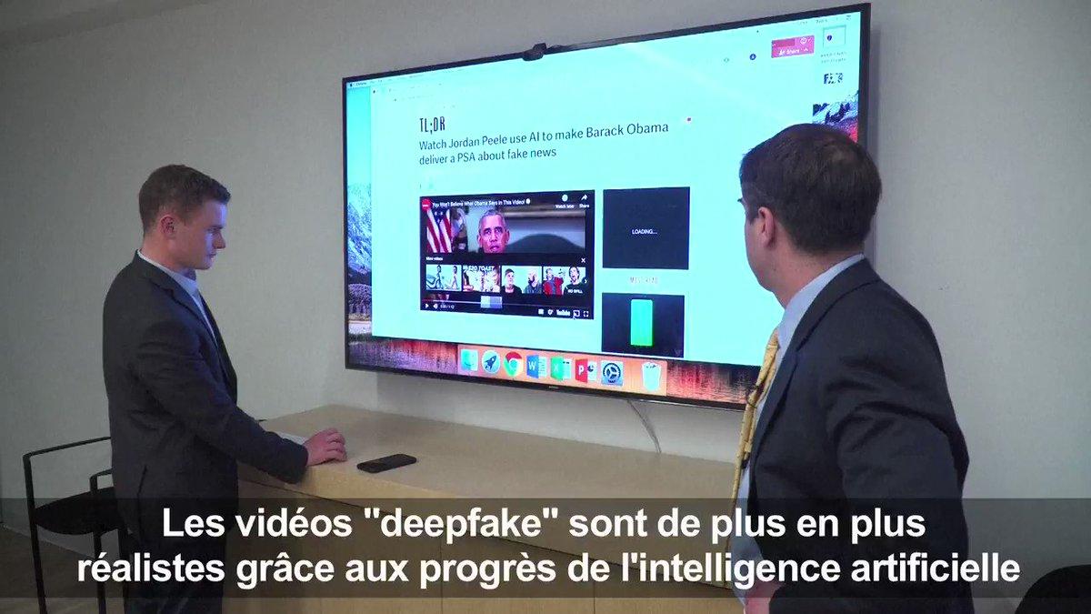 Les vidéos #deepfake qui manipulent la réalité deviennent de plus en plus crédibles grâce aux progrès de l'intelligence artificielle, créant un espace d'expression pour de nouveaux types de désinformation. Reportage @gclarenne #AFP