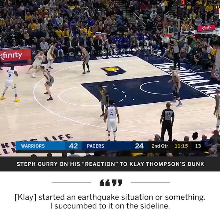 Klay's powerful dunk is why Steph fell over 🤣