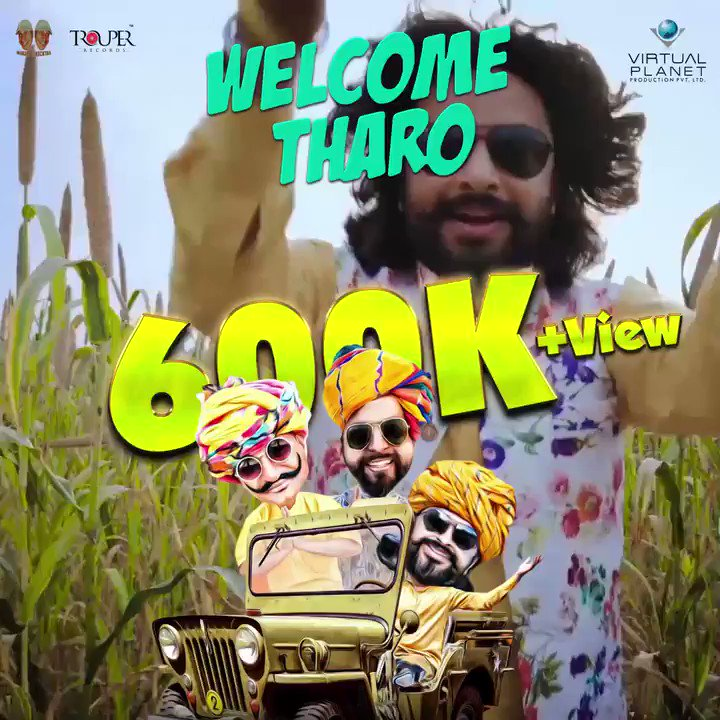"With your love and support ""Welcome Tharo"" has crossed more than 600K+ Views. 🤩Love you all😍 keep showering your love.🙏🤘😄  Click Here: https://bit.ly/2Toc9jh   #WelcomeTharo #RajasthaniSongs #FolkMusic @RapperiyaBaalam"