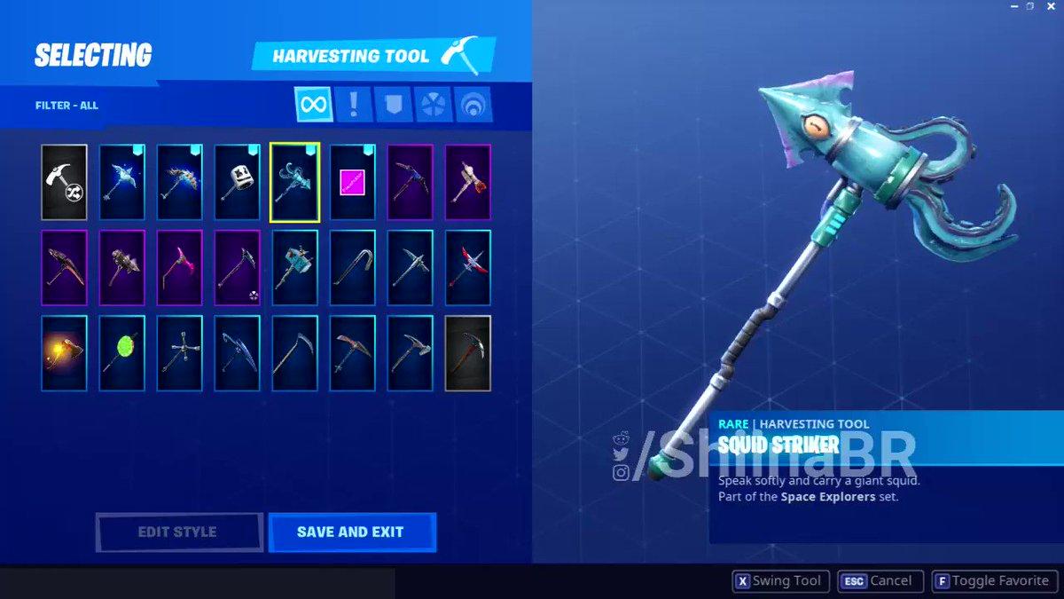 shiinabr fortnite leaks on twitter squid striker pickaxe space explorers set - fortnite space set