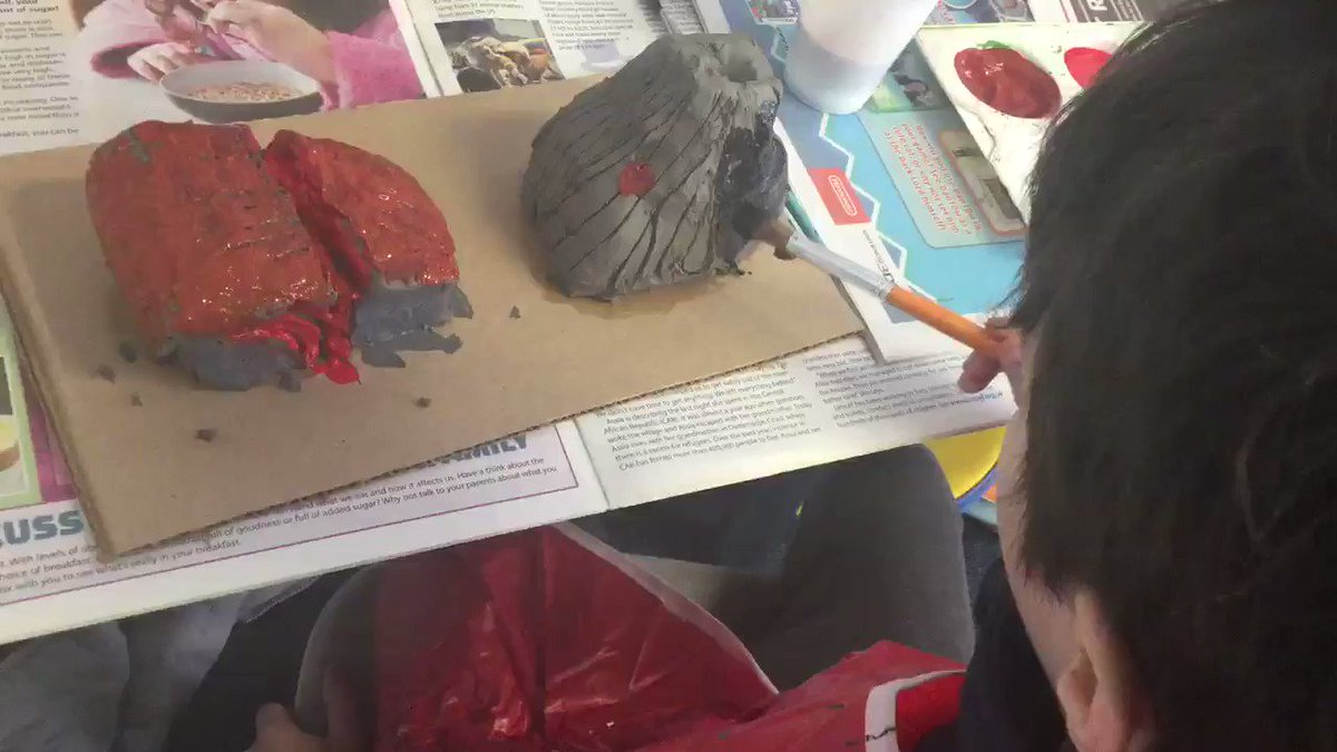 #ThisTweetIsCreatedByOurStudents  My Grade were making clay models and painting them for our summative museum.  They show before and after the landform had changed.  Painting is great, when I make a mistake I just paint over it! EL age 9 #ArtIsCool @CognitaSchools @siobhanaroha1