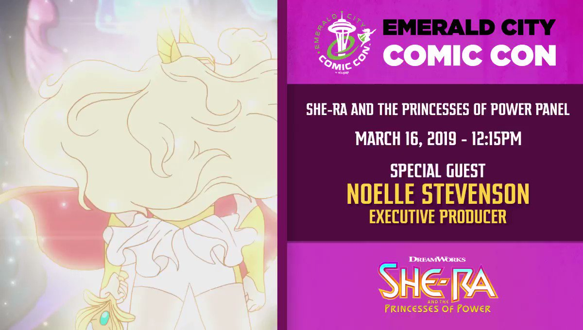 .@emeraldcitycon will welcome the legendary warrior princess Noelle Stevenson, Executive Producer of #SheRa and the Princesses of Power, on March 16th! @Gingerhazing #ECCC #ECCC2019