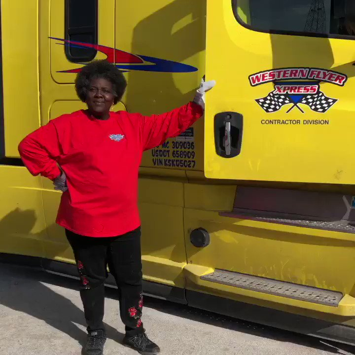 Reberta, one of our new contractors, shows off her Cascadia....  #driveyourdream #cdldriver #18wheelers #freightliner #cdlcontractor #leasetoown #leasetoown #driveWFX #bigrig