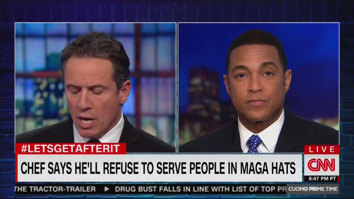 """Chris Cuomo says that MAGA hats are comparable to shirts that say """"I hate black people""""  Cuomo suggests businesses should be allowed to ban people who wear MAGA hats  Don Lemon says the hat represents """"the Central Park five,"""" """"birtherism,"""" and """"Mexicans are rapists"""""""