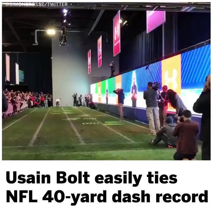 Just @usainbolt tying the NFL 40-yard dash record like its no big deal 😤 (via @simoncrosse)