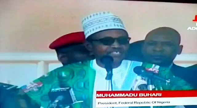 """Buhari has done it again!Today as he addressed the crowd at his Ekiti rally he told them that he was elected into office """"in 2005"""". The senility and diseased mind that plagues this creature is getting worse by the day. Is this what some say should lead Nigeria for another 4 yrs?"""