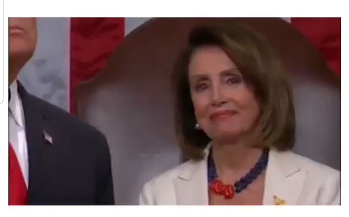 #Pelosi's reaction to Trump at the State of the Union tonight is a pretty good summary of how everybody feels.