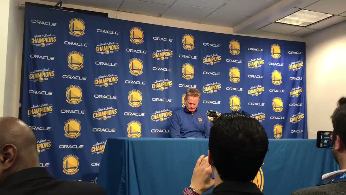 "Steve Kerr on Kevin Durant: ""He just doesn't feel like talking to (media) right now."""