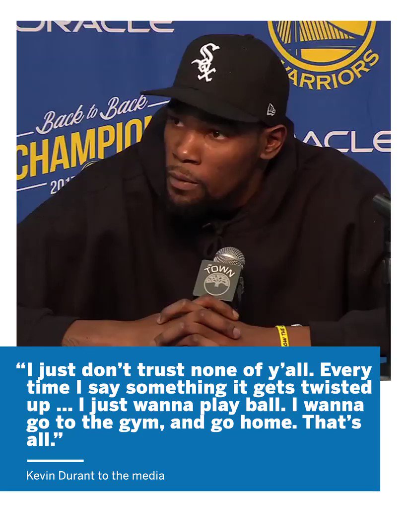 KD made it be known how he feels about the media. https://t.co/htigFqpMMp