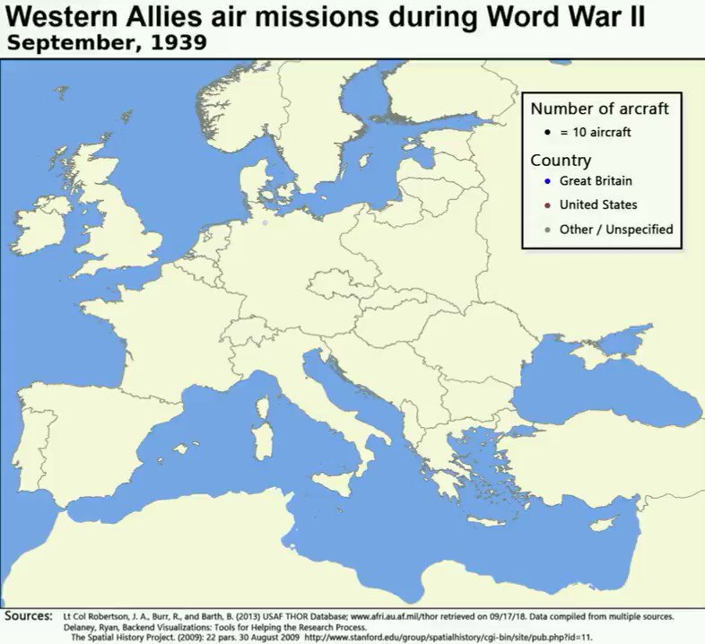 Map shows the air missions flown by the Western Allies during World War II. The borders change according with wartime developments too. This #map really brings #history to life. Outstanding work. Source: https://buff.ly/2HUWXIw  #historyteacher #geographyteacher #WWII