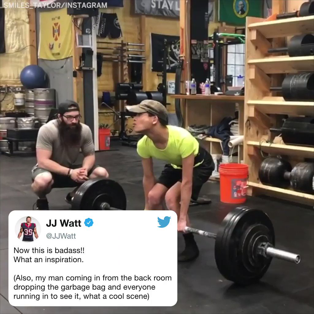 .@JJWatt's got respect for this deadlifter with cerebral palsy lifting twice his own bodyweight �� https://t.co/KuGbMY2TH5