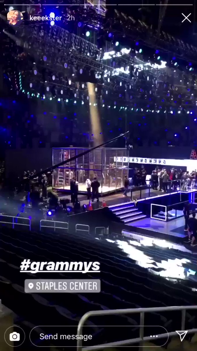 Grammys set up inside of the Staples Center https://t.co/8l0RJ09Jxn