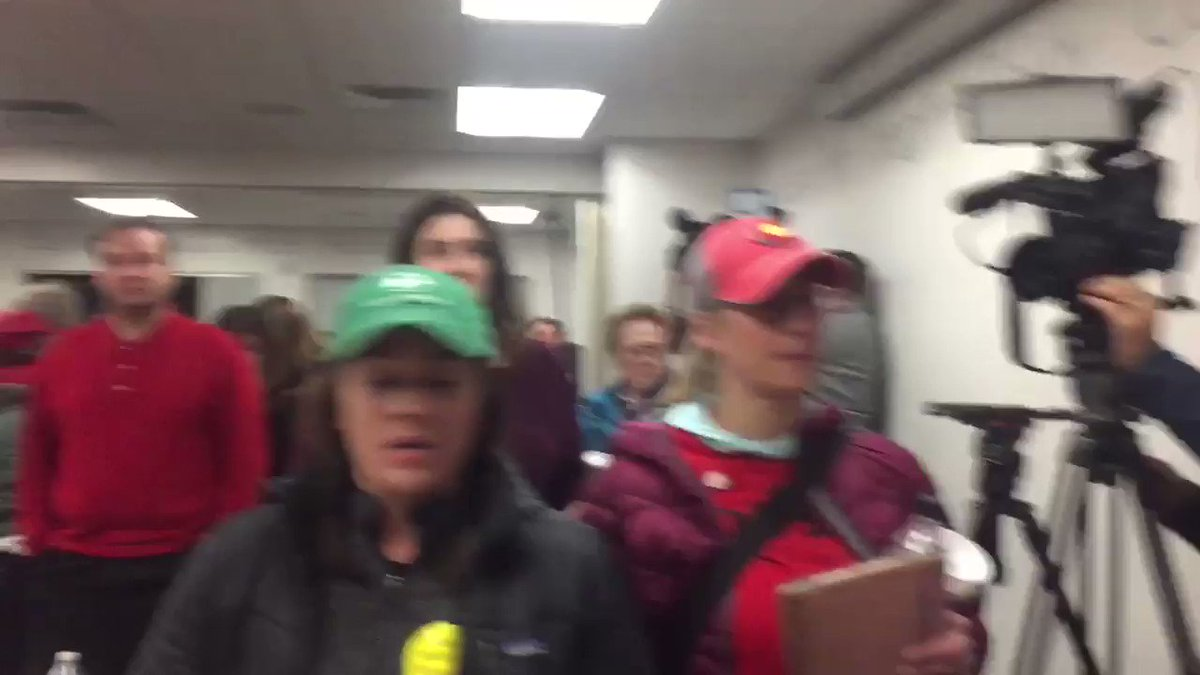 Explosive ending. Teacher crying as the file past district leaders. Strike Monday.
