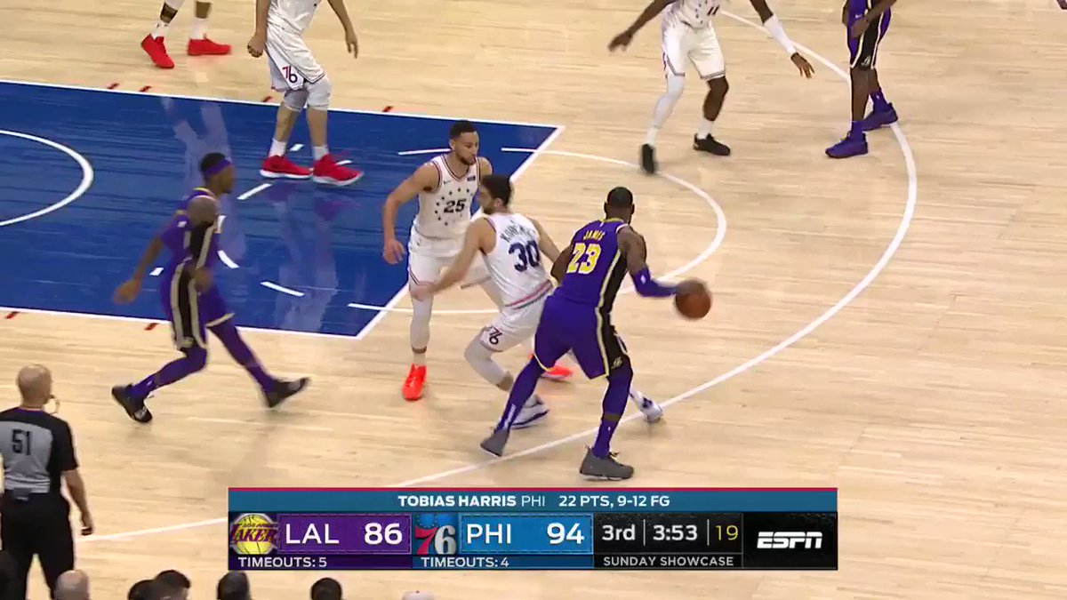Kyle Kuzma with the contact AND finish! He's up to 37 points.   @sixers lead @Lakers 99-92 on #NBAonABC https://t.co/ZRIyLHdD3G