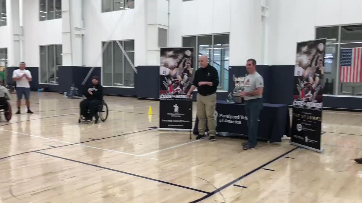 .@USArmy #veteran Ryan Major is taking home the mid pointer award at the #PVACodeOfHonor Quad Rugby Tournament. Go Ryan! @TheStJames_ #quadrugby #adaptivesports