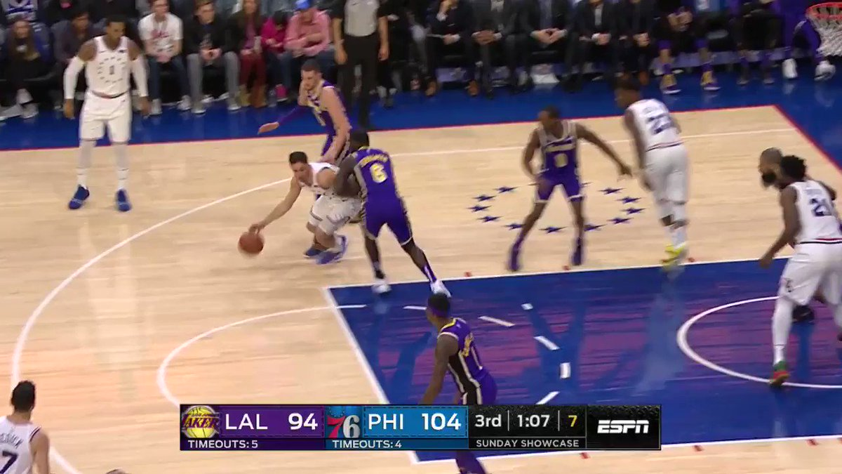 The @sixers close out the 3rd on a 13-2 run.   They lead @Lakers 109-94 on #NBAonABC  #JoelEmbiid: 35 PTS - 11 REB. https://t.co/F83VOgp6I1