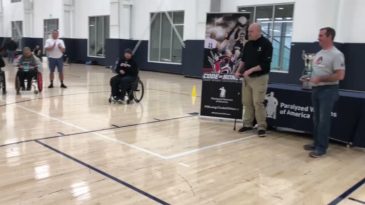 PVA member and Division 1 #quadrugby athlete Ryan Lindstrom, a @USNavy #veteran, accepts the best high pointer award at the #PVACodeofHonor Quad Rugby Tournament. Ryan also plays on the tournament's championship winning team @WeAreOscarMike! #PVAunstoppABLE – at St. James