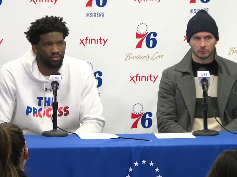 "JJ Redick said he wasn't shocked by Ben Simmons' 3-point attempt.  Embiid: ""Are you sure?"" �� https://t.co/JYl3AiKLWc"