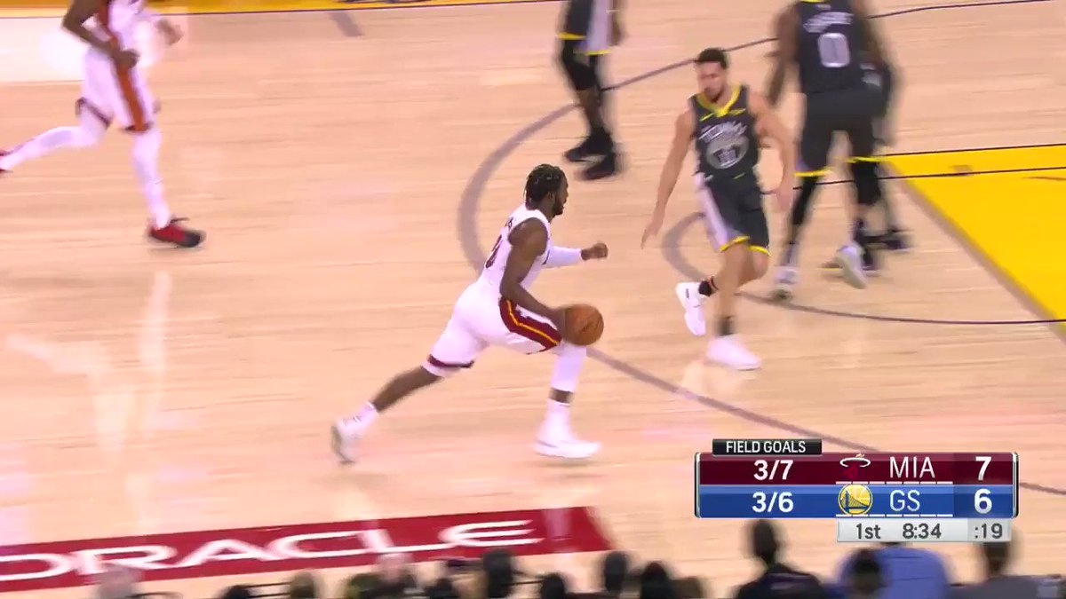 Dion Waiters pulls up from deep!  @MiamiHEAT off to quick start, lead @warriors 17-6 on @NBATV. https://t.co/ruVOOeql3O