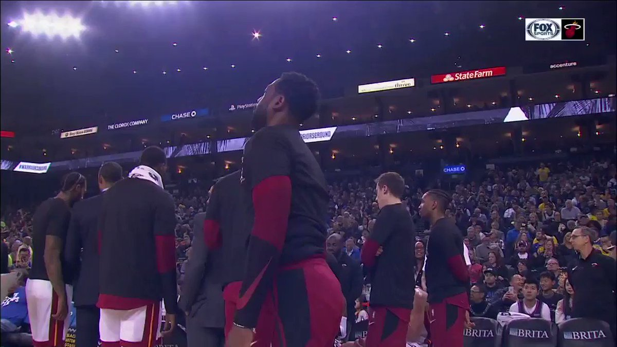 .@DwyaneWade waved to the cheering crowd after the Warriors played a tribute video during his last game at Oracle 🙏