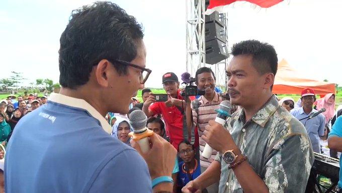 Calon Wakil Presiden Indonesia Sandiaga Drama Tangisan Petani Bawang