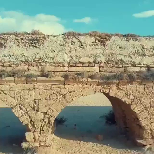 These breathtaking remains are an ancient aqueduct, which carried water 25 miles to fill the baths and pools, fountains, markets, palaces and homes of Herod's Caesarea Maritima. #VisitIsrael (📹: http://instagram.com/boris.goldenberg …)