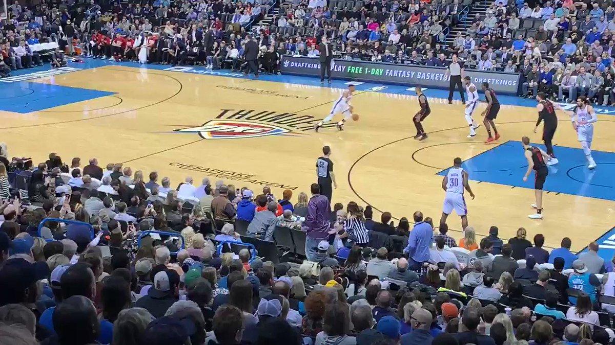 🔊 Loud City gets louder as Russ passes Wilt. #TripleDoubleKing 👑  – at Chesapeake Energy Arena