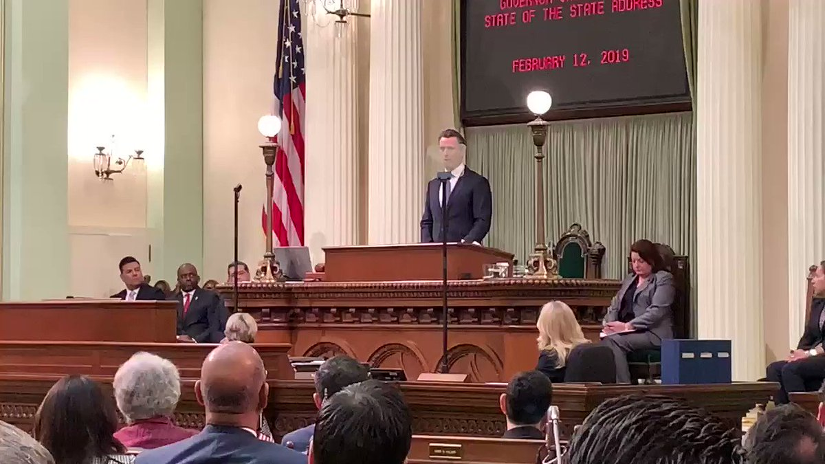 Governor @GavinNewsom wasted no time in his State of the State address by starting with President Trump and border security. @KTVU #California #stateofthestate
