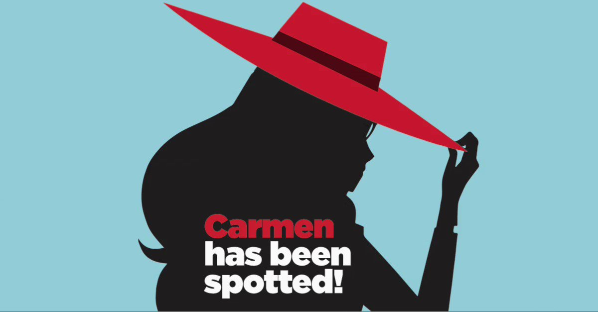 Carmen's been spotted! Follow the clues to see where she is. Write the location in the comments. We'll post the answer in 24 hrs #TravelTuesday #TriviaTuesday #CarmenSandiego #FollowTheFedoraface